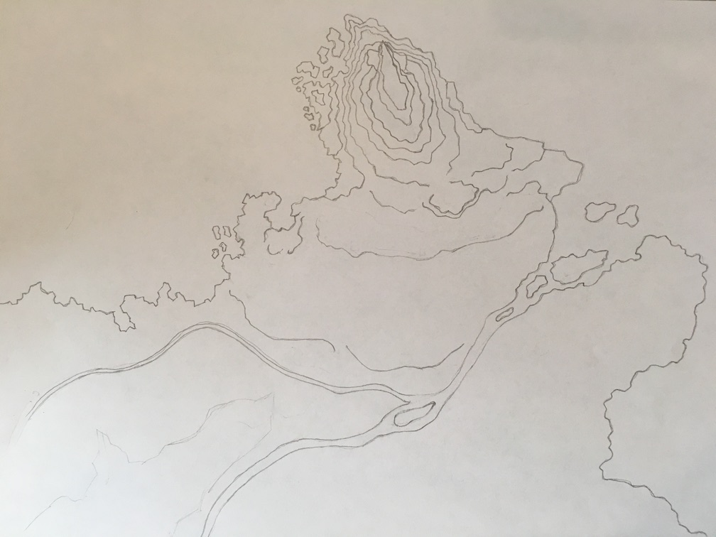 Pencil drawing of the Hookspire mountain and surrounding terrain.