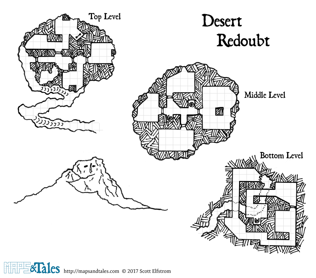 Gridded map of a desert redoubt, with an elevation illustration of same