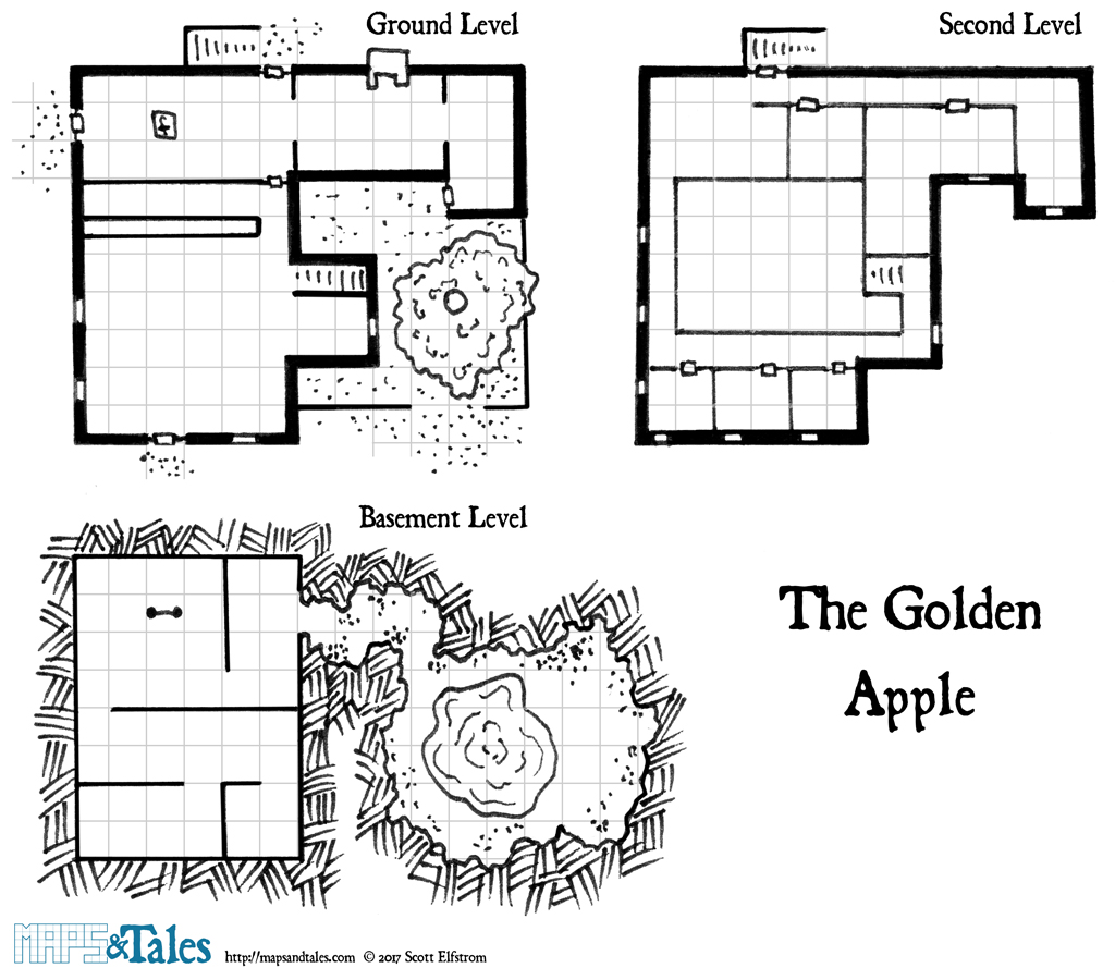 Gridded map of The Golden Apple Tavern