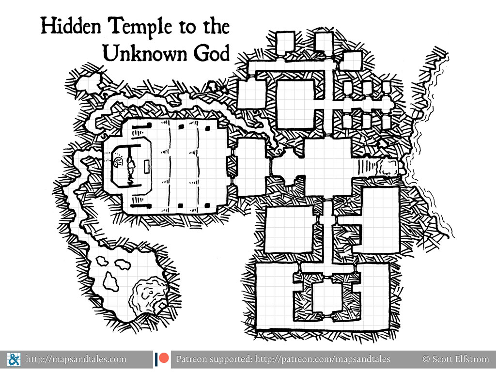 Map of a subterranean temple structure