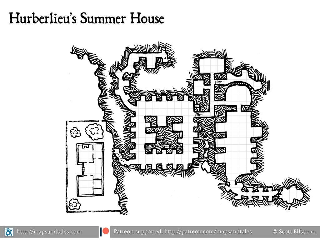 Map of a mansion at the foot of a cliff with a secret entrance to a labyrinthine dungeon.