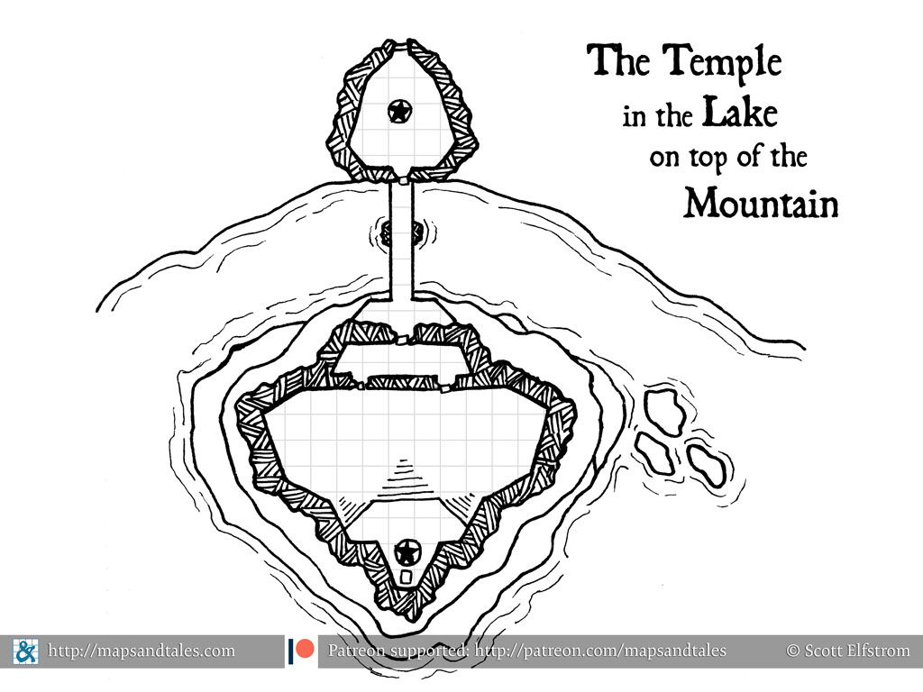 Map of a rugged stone temple perched on a rocky island in a lake