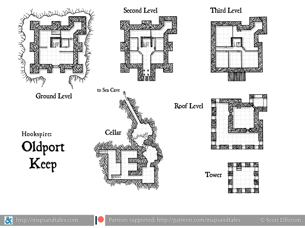 Map of a four-level tower with a cellar and a tunnel to hidden sea caves.