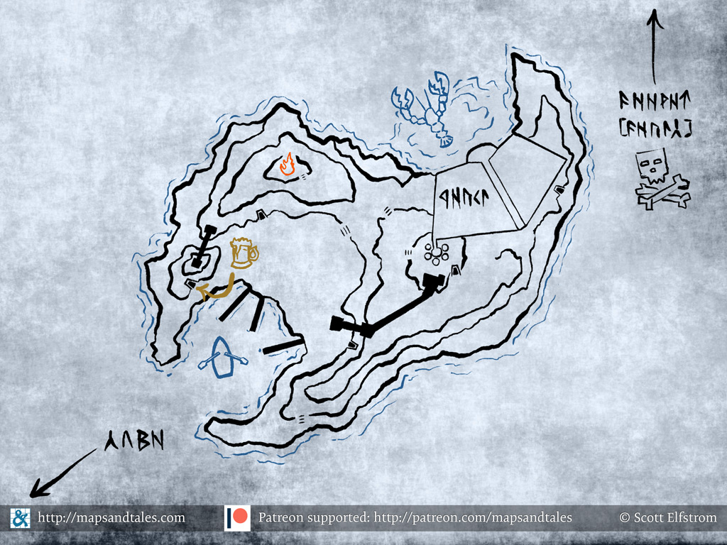 Map of an island in the middle of a subterranean sea, drawn and marked up by dwarves