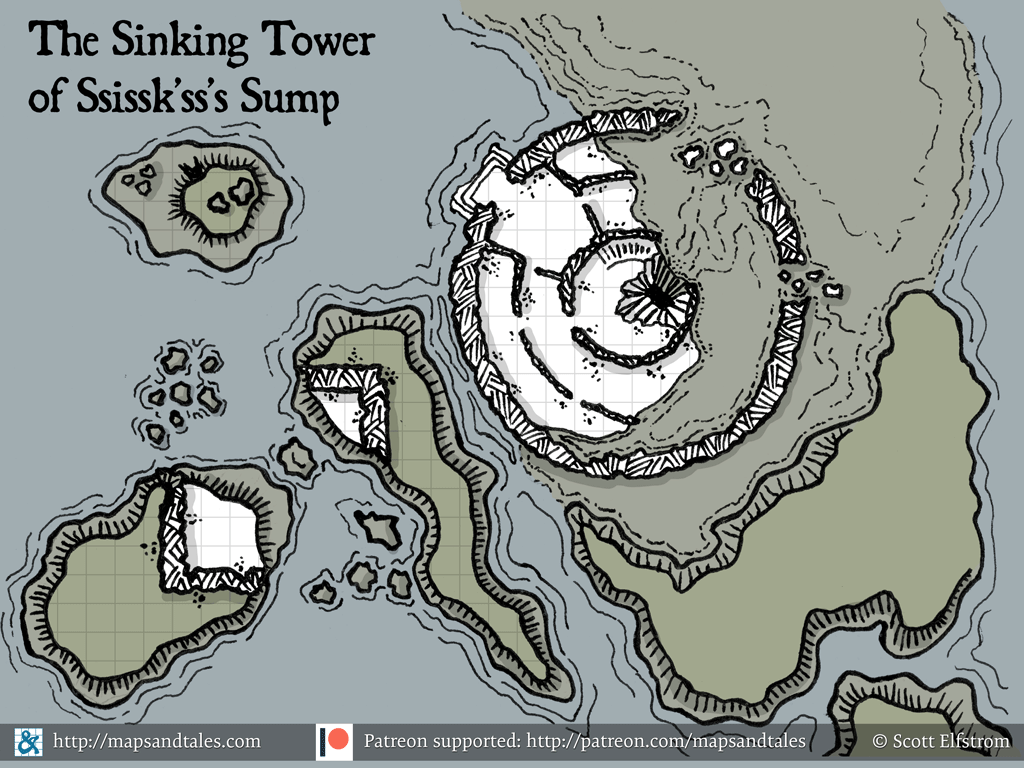 Map of a crumbling tower sinking into a swamp, with a sinkhole in its center leading to the depths below.