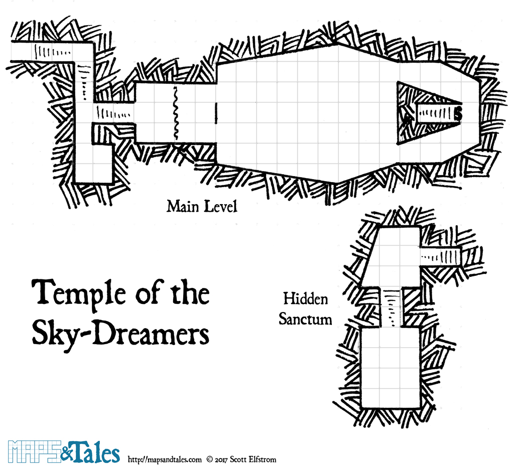 Gridded map of the Temple of the Sky-Dreamers