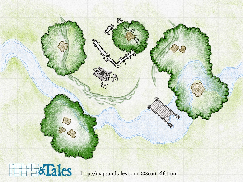 A map of a ruined tower by a stream rendered in a faux colored-pencil style.